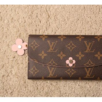 LV Louis Vuitton Popular Ladies Leather Pink Four-Leaf Clover Buckle Wallet Purse I