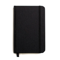 Small Hard Cover Linen Journal Jet Black