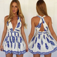 White And Blue Floral Print V-Neck Strap A-Line Chiffon Dress