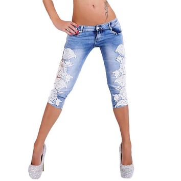 41%Y1011 Summer Jeans with Lace Crochet Sexy Jeans for Women Skinny Calf-length Jeans Low Waist Stretch Slim Femme Denim Pants