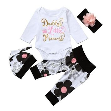Infant Baby Girl Daddy's Little Princess 4 Piece Long Sleeve Floral Romper Set