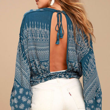 Free People Weekend Warrior Denim Blue Print Crop Top