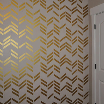 41Pcs/Set Wallpaper Wall Decals Gold Herringbone Pattern Wall Art Sticker
