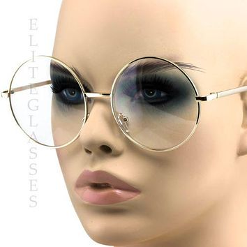 Retro Vintage Oversized Round Oval Metal Frame Hipster Womens Large Sunglasses