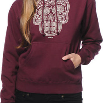 Obey Girls Day Of The Dead Maroon Pullover Hoodie at Zumiez : PDP