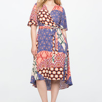 Printed Circle Sleeve Wrap Dress | ELOQUII