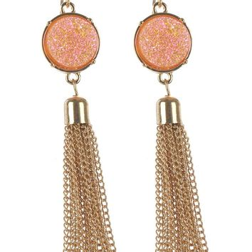 Peach Round Shimmer Finish Natural Stone Chain Tassel Earring