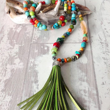 Long stone necklace leather tassel colourful jewellery long tassel necklace statement necklace boho jewellery multicolour necklace long