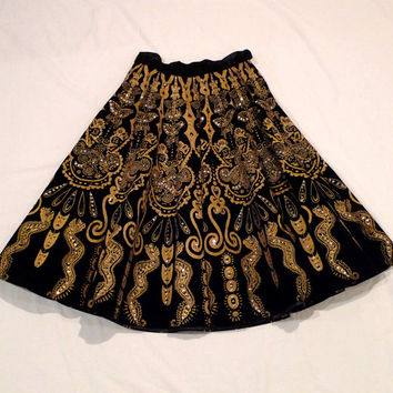 Mexican Skirt Black Velvet Circle Skirt Vintage Day of the Dead Aztec Mayan Frida Kahlo Style Butterfly Snake 50's Folk Art FREE USA SHIP