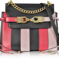Roberto Cavalli Tulip, Black and Nude Stripe Leather Shoulder Bag w/Goldtone and Crystals Snake Heads