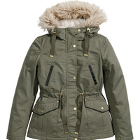 H&M - Padded Parka - Khaki green - Ladies