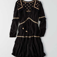 AEO Tiered Embroidered Dress, Black