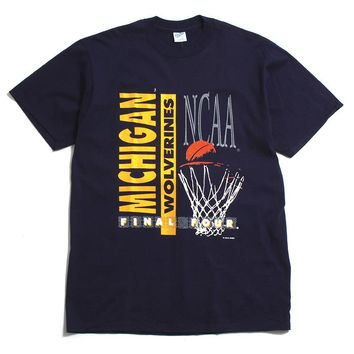 University of Michigan Basketball Final Four Velva Sheen DS T-Shirt Navy (Large)