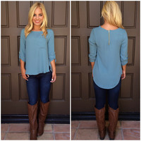 Settle Down Pocket Blouse - BLUE