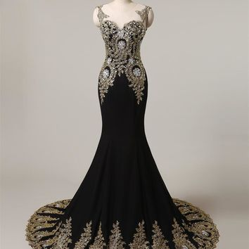Black Long Evening Dresses Mermaid Formal Dress with Gold Embroidery