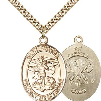14K Gold Filled St Michael The Archangel Nat' Military Catholic Medal Necklace