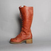 60s Lace-Up TALL BOOTS / Boho Brown Knee High Campus Boots, 7.5