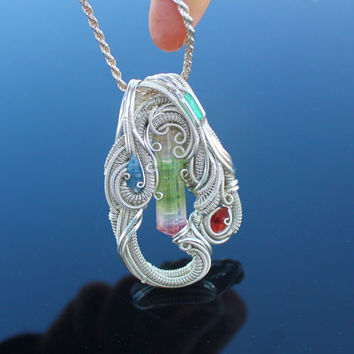 heady silver wire wrap / Paprook multi-colored Tourmaline Rhodocrosite Raw sapphire Emerald handmade jewelry / raw crystal gemstone pendant