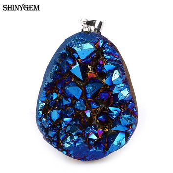 ShinyGem Irregular Natural Crystal Pendant Fashion Crystal Druzy Pendant Handmade Gems Natural Stone Pendants For Jewelry Making