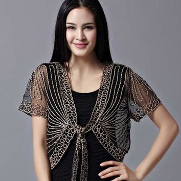 High quality Summer Fashion Womens Clothing Wild Perspective Small Shawl Chiffon Lace Cardigan Gauze Lacing Boleros 802E 30