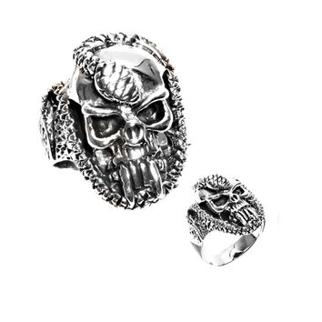 925 Sterling Silver Death Reptilian Skull Ring