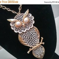 ON SALE Vintage Huge Owl Pendant, White & Gold Figural Animal Necklace, 1960's 1970's Jewelry
