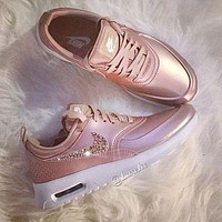 Nike Air Max Fashion Trending Glittering Logo Sport Running Sneakers Sport Shoes Rose Golden G