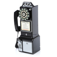 Vintage classic pay phone black finished antique 1950's style remastered retro black pay phone stylish functional beautiful wall mounted.