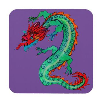 Dragon on Set of 6 Coasters - Pick your Background