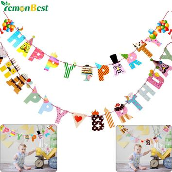 Birthday Party Decoration Banner Colorful Funny Happy Birthday Banner Letters Shaped Kids Birthdays Party Supplies Home Decor