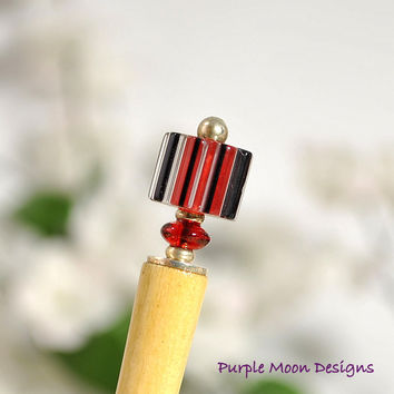 """Peek A Boo"" - Red Black Hair Stick, Short Hairstick, 4 inch"