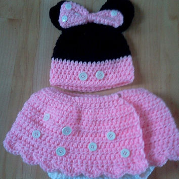 Crochet Diaper Cover Hat Set Minnie Mouse inspired