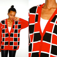 Vtg Square Print Red Black White Slouchy Button Down Cardigan