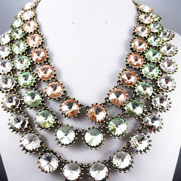 2013 J. Crew Style Inspired Vintage Clear Crystal VENUS FLYTRAP Glass Stone Wedding Party Bridal Statement Bib Necklace Choker Trends
