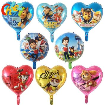 8pcs PAW Patrol foil balloons 18 inch Birthday party decorations baby shower Ryder Chase Marshall Skye Hand ballon Kids toys hot