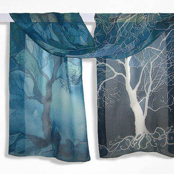 Long silk scarf ' Trees in blue ' hand painted scarves - blue turquoise white