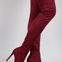 Liliana Suede Pointy Toe Stiletto Over-The-Knee Boots