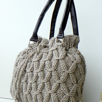 SALE OFF 15 NzLbags New  Beige Melange Knit Bag Handbag by NzLbags