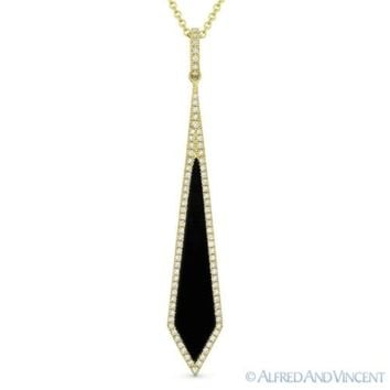 0.72ct Black Onyx & Diamond Pave 14k Yellow Gold Stiletto Pendant Chain Necklace