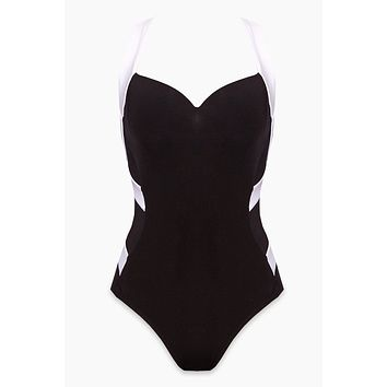 Low Back Infinity One Piece Swimsuit - Black/White