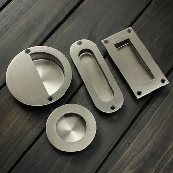 1Pcs Stainless Steel Door Handle Flush Recessed Pull Circular Oval Rectangular Hardware Drawer For Home Tools