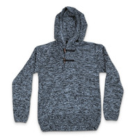 Retrofit Hazy Blue Pullover Knit Sweater Hoodie