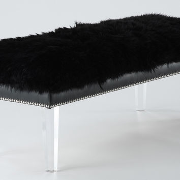 Luxe Black Sheepskin Lucite Bench