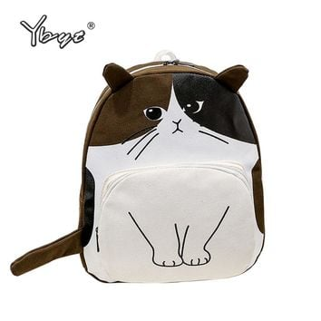 3D Cat Printing Canvas Student School Large Capacity Backpack