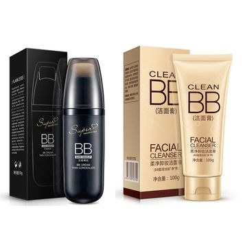 Isolation Concealer High Quality BB Cream Makeup Foundation And Hyaluronic Acid Soft Clean Cleansing Cream Combination Packages.