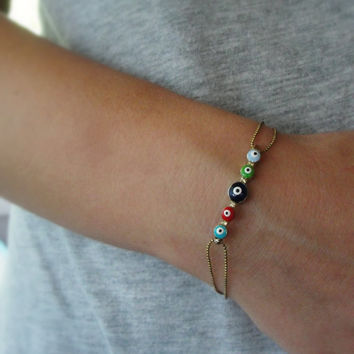 Evil Eye Protection Bracelet Enamel Jewelry Luck Charm