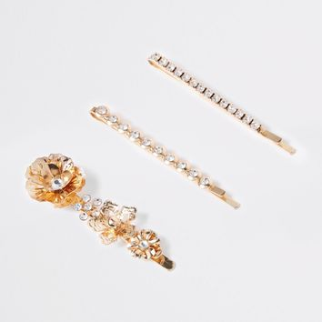 Gold tone diamante flower hair clip multipack - Hair Accessories - Accessories - women