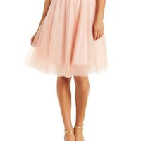 Blush Tulle Full Midi Skirt by Charlotte Russe