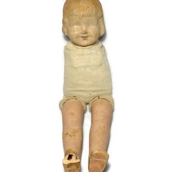 Chippy Composite Doll, Peeling Paint, Vintage Antique, Eerie Flour Sack Doll