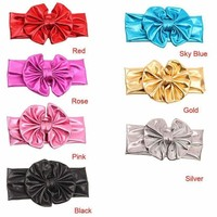 Fashion Fashion Children Metallic Messy Big Bow Girls Headband Baby Headband
